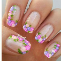 Flowers do not always open, but the beautiful Floral nail art is available all year round. Choose your favorite Best Floral Nail art Designs 2018 here! We offer Best Floral Nail art Designs 2018 .If you're a Floral Nail art Design lover , join us now ! Flower Nail Designs, Nail Designs Spring, Nail Art Designs, Nails Design, Floral Designs, Fancy Nails, Trendy Nails, Cute Nails, Spring Nail Art