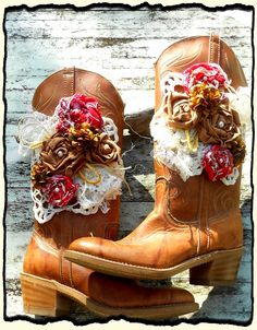 Womens ECO BOOTS Fall Cowboy Boots Western Farmhouse chic Bohemian shabby Fabric rose Embellished shoes Gypsy. $200.00, via Etsy.
