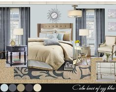 guest bedroom. Light blue and navy