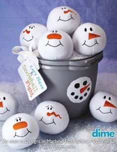 Snowman Snowballs Machine Embroidery Design by EmbroideryGarden.com   snowball fight
