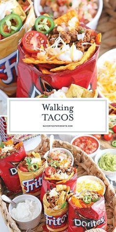 Kids Meals, Easy Meals, Camping Meals, Mexican Food Recipes, Party Food Recipes, Taco Bar Recipes, Party Food Bars, Walking Tacos, Campfire Food