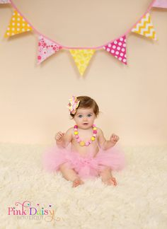 3-Piece Cake Smash Set. Pink and Yellow Bow Necklace Tutu Set. Pink Lemonade Stand First Second Birthday. First Birthday Photo Props. on Etsy, $50.00
