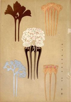 Hair Combs. Album Leaf from a Japanese design book mid 19th century. Safe enough for those curls as long as they are not dry. :-)