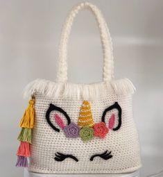 Unicorn handbag crochet pattern PDF. English USA by Ambercraftstore on Etsy