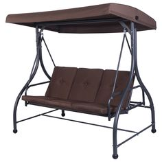 Tangkula Converting Outdoor Swing Patio Porch Garden Swing with Comfortable Cushion Seats, Adjustable Canopy & Coated Steel Frame Hammock 3 Seats Patio Deck Furniture (Brown) Porch Swing With Canopy, Patio Swing, Canopy Outdoor, Outdoor Seating, Outdoor Sofa, Porch Swings, Outdoor Living, Outdoor Awnings, Porch Garden