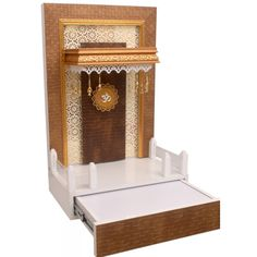 Wooden Designer Mandir 3 FT Height with Drawer and Lights Pooja Room Door Design, Home Room Design, Home Interior Design, House Design, Temple Design For Home, Home Temple, Mandir Design, Bedroom Cupboard Designs, Puja Room
