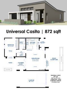 Universal Casita House Plan 61custom Contemporary Modern House Plans Modern House Plans Modern Contemporary House Plans Guest House Plans