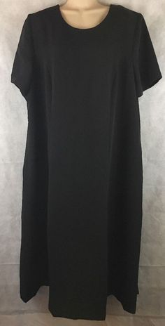 Main Street Classics Black Career Classic Calf Length Dress SZ 22W Short Sleeve  #MainStreetClassics #ModestSheath #WeartoWork