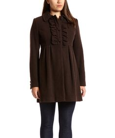 Loving this Chocolate Wool-Blend Empire-Waist Coat on Zulily! Rarely see the Empire Waist in a coat (at least in my opinion!)