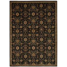"Kathy Ireland Home Gallery Ancient Times Persian Treasure Black Area Rug Rug Size: 9'3"" x 12'9"""