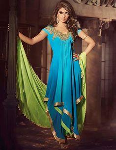g3fashions Priyanka Chopra Blue georgette unstitched chudidar Products code: G3-WSS2857 Price: ₹ 4412.00