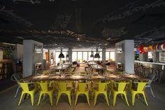 Great cafe decor :: blackboard ceiling