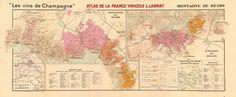 CHAMPAGNE VINEYARD MAP Montagne de Reims. Éperon de Bouzy. Mailly. LARMAT 1944 Champagne, Reims, France, Antique Maps, Vintage World Maps, Posters, London, Mountain, Old Maps