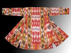 Uzbek national traditional clothes silk cotton ikat adras chapan robe ethnic dress. $140.00, via Etsy.