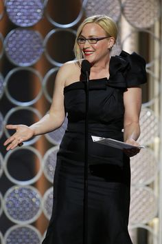 Pin for Later: 8 Quotes From the Golden Globes Every Woman Should Read Patricia Arquette Celebrities With Glasses, Celebrity Glasses, Patricia Arquette, Golden Globes, Every Woman, Peplum Dress, Photo Galleries, Black, Dresses