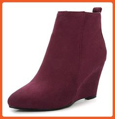 e6de96b1d67 Sfnld Women s Trendy Pointed Toe Ankle High Wedges Side Zip Solid Boots Red  6 B(