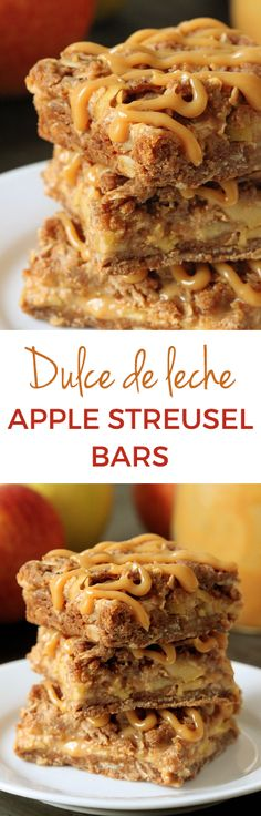 These delicious apple bars have a layer of dulce de leche sandwiched between streusel and apples! Can be made with all-purpose or whole wheat flours.