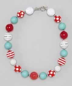 Another great find on #zulily! Turquoise & Red Dot Bead Necklace by Diva Daze #zulilyfinds