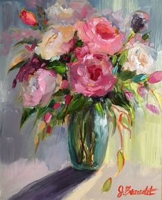 Rose Oil Painting, Realistic Oil Painting, Acrylic Painting Flowers, Abstract Flowers, Oil Painting On Canvas, Paintings Of Flowers, Floral Paintings, Knife Painting, Art Floral