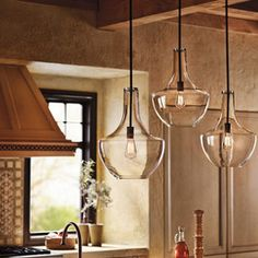 Kitchen Lighting - Everly Ceiling Pendant from Kichler Lighting Kitchen Lighting Fixtures, Kitchen Pendant Lighting, Kitchen Pendants, Light Pendant, Ceiling Pendant, Mini Pendant, Glass Pendants, Glass Kitchen, Hanging Kitchen Lights