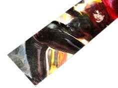 Avengers Black Widow Natasha Romanova Bookmark inspired by Marvel Comics OOAK Laminated upcycled repurposed reclaimed kid. $8.00, via Etsy.