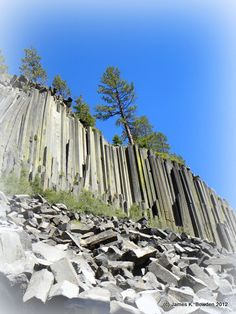 A view from below,of the basalt columns at  Devil's Postpile National Monument in California.