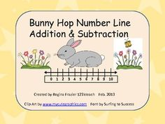 $1.50  Your students will love hopping on the number line with these adorable bunnies as they learn their addition/ subtraction facts. Simply place the bunnies on the floor and hop over to the left to subtract and over to the right to add.