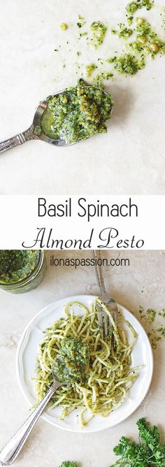 Basil Spinach Almond Pesto by http://ilonaspassion.com #pesto #basil #spinach #recipe