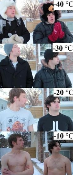 I do not get cold, so maybe I should live in Canada. That clothing/weather schedule would suit me well.