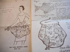 Vintage 1950's Mail Order Sea Fare Hostess Apron Sewing