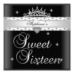 Sweet 16 Birthday Party Black White Tiara Custom Invitation by zizzago.com