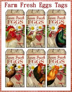 Free Range and Organic this Tag Set is as Fresh as the Country Daisies decorating the Country Farm Fresh Eggs Sign They would be great also for a Paper Bag Printable Labels, Printable Art, Free Printables, Country Primitive, Primitive Labels, Vintage Labels, Vintage Tags, Coq, Chickens Backyard