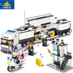 Kazi 6727 police station building blocks set modello 511 + pc enlighten educativo di diy costruzione mattoni giochi per bambini