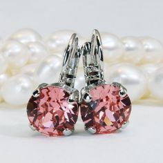 Coral Earrings Peach Pink Drop Earrings Swarovski Crystal Coral Drop Earrings Coral Bridesmaids Gift Coral Wedding,Silver,Rose Peach,SE2