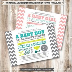 Chevron Baby Shower Invitation - CHOOSE your COLORS - Baby Boy or Girl Shower  -  DIY Printable Invitations - Couples Shower Custom Color