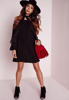 Missguided - Bardot Bell Sleeve Chiffon Swing Dress Black