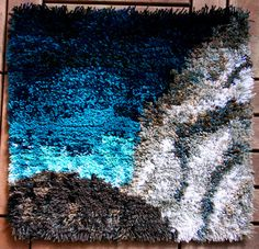 """Myrsky (""""Storm"""") - traditional ryijy rug from Finland Textiles, Textile Patterns, Textile Art, Rya Rug, Wool Rug, Off The Wall, Marimekko, Finland, Carpets"""