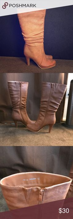 Top Moda knee high boots says 8.5 but fits as 7.5 Never worn!  Excellent condition.  Faux leather (vegan) knee high boots, 3 inch heel, zipper on inside of each boot zips completely down for easy getting in and out.  RUNS A FULL SIZE TO A SIZE AND A HALF SMALL--says 8.5 but fits like a snug 7.5, and more like a 7.   Posh ambassador 🌟 Top-rated seller 🌟 Fast shipper 🌟 No trades. No Paypal. No offers on items $10 or less. No lowball offers. YES--Buy now, make a reasonable offer, take…