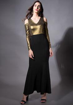 90eef0ec896 Gold Cold Shoulder Mermaid Maxi Dress  Fashion  FabAlley  PartyWear   WeddingWear  MaxiDress