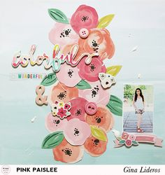 Celebrate Spring with floral papers and embellishments from Fancy Free! 12x12 Scrapbook, Scrapbook Page Layouts, Scrapbook Paper Crafts, Scrapbook Supplies, Digital Scrapbooking, Scrapbook Examples, Baby Sketch, Hip Kit Club, Creative