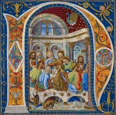 Initial 'N', the Last Supper. Italy; circa 1500. ©British Library Board