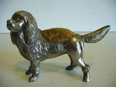 Rare Antique English Silver Poodle Pin Cushion