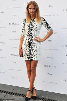 Millie Mackintosh looked tanned in a white spotted dress at the French Connection party in North London