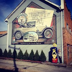 We stopped in Stoystown, PA to find this Lincoln Highway mural and pump only visible eastbound. Another stop on yesterday's adventure with Cece Otto.  (Photo by Cece Otto)