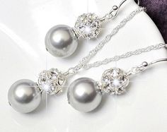 Silver Bridesmaid Jewelry Set Grey Pearl by somethingjeweled