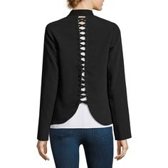 Bailey 44 San Juan Lace-Up Blazer ($298) ❤ liked on Polyvore featuring outerwear, jackets, blazers, lace up jacket, blazer jacket, bailey 44 jacket, long sleeve jacket and bailey 44