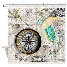 Sea Turtle Compass Vintage Shower Curtain