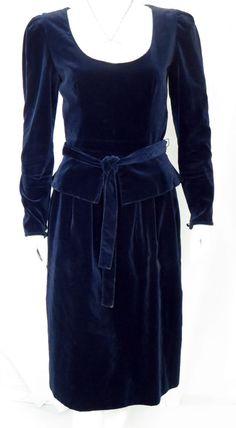 Vintage Guy Laroche France Midnight Blue Velvet Peplum Dress * #GuyLaroche
