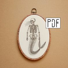 Embroidery Hoop Art, Hand Embroidery Patterns, Etsy Embroidery, Sakura Pens, Mermaid Skeleton, Calico Fabric, Skeleton Hands, Muslin Fabric, Crafts