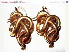 CIJ Sale Dragon Serpentine Earrings French by BrightgemsTreasures #vintage #jewelry #dragonearrings